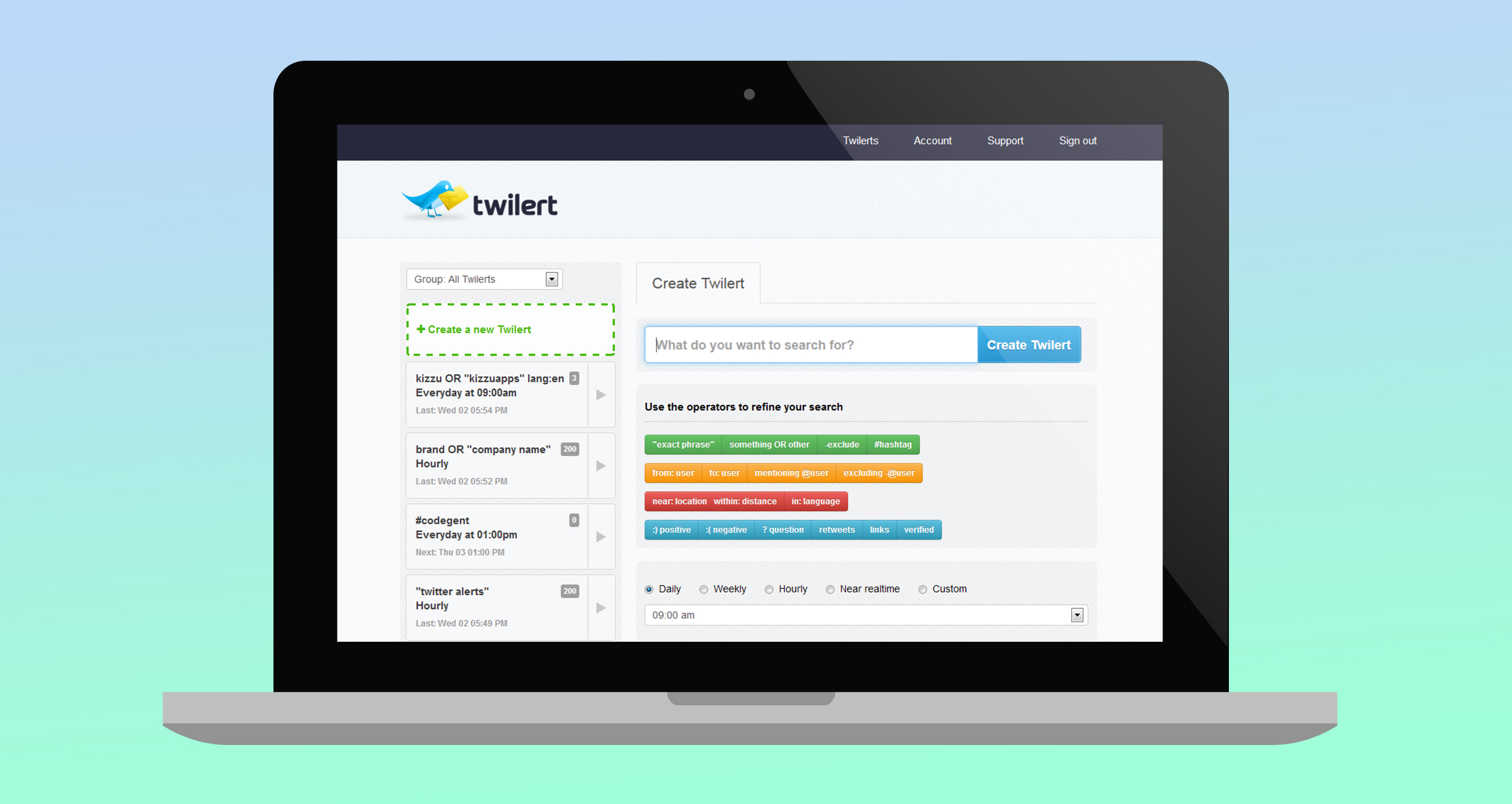 Twilert Dashboard - Twitter Search Operators