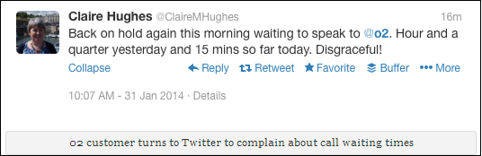Unhappy tweet from an 02 customer could potentially spark a social media crisis