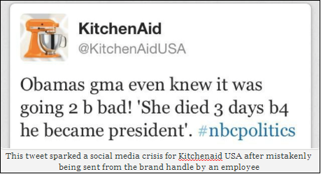 The Kitchenaid tweet that sparked a social media crisis for the brand