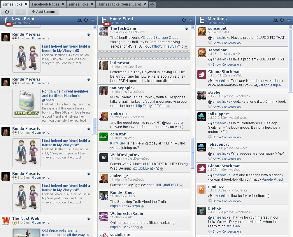 The Hootsuite twitter monitoring dashboard