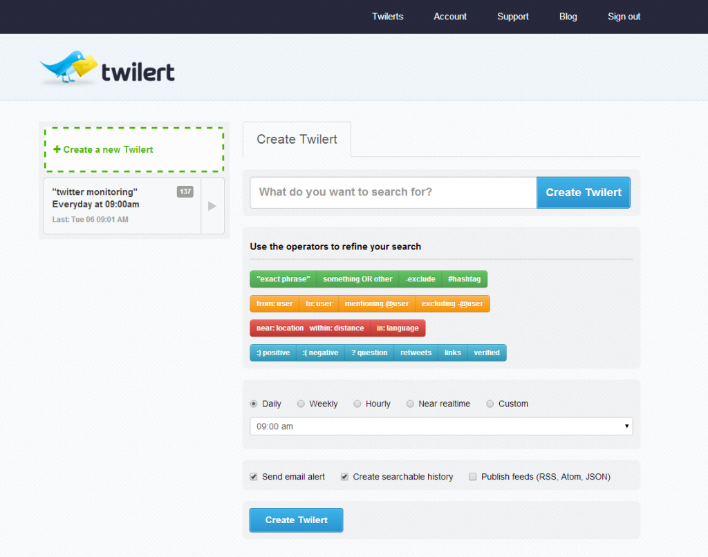 Screenshot of the Twilert real-time twitter monitoring tool