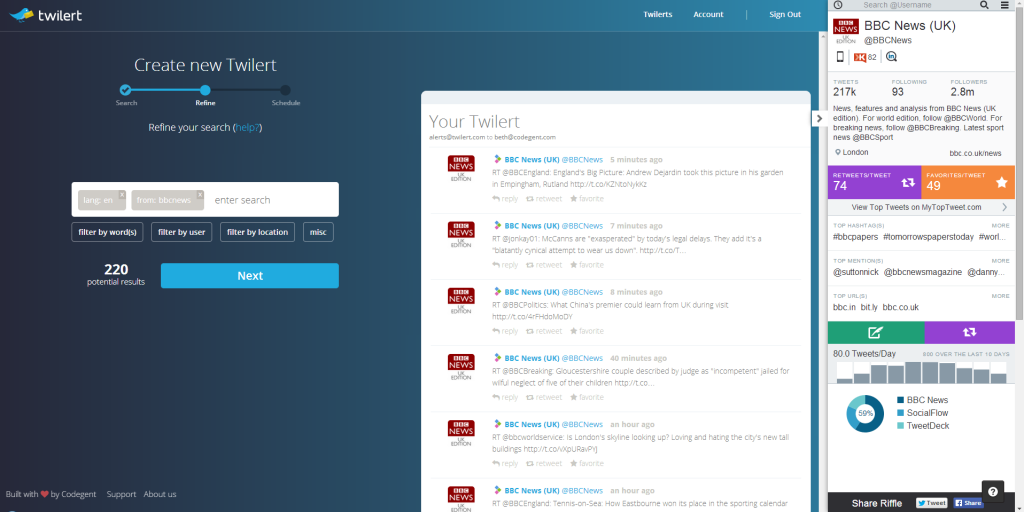 Twilert integrates with chrome extension Riffle for Twitter monitoring