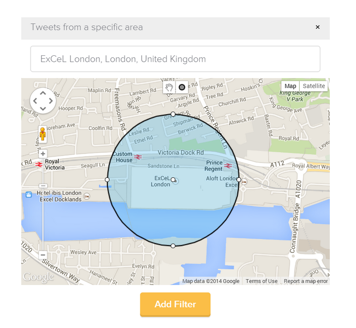Twitter Geolocation search used to track tweets being sent from the event venue Excel London