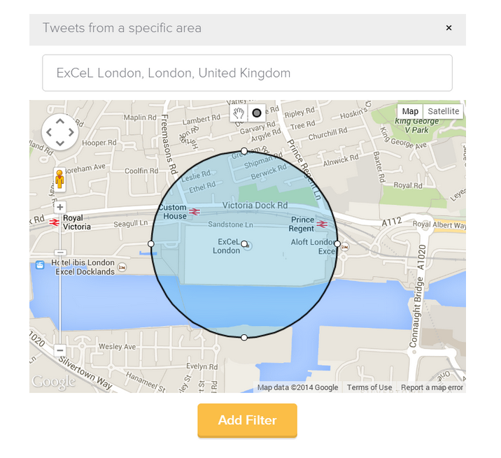 Twitter Geolocation search used to monitor an event venue