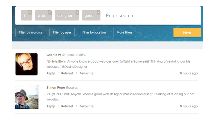 Using Twitter search to find a web designer
