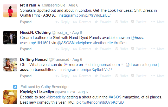 ASOS brand name Twitter keyword search