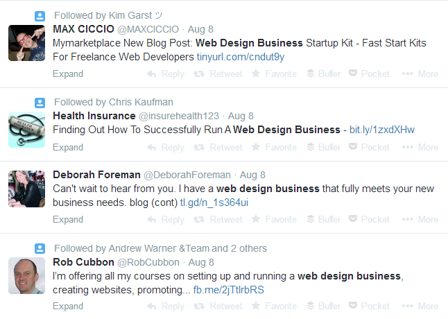 Web Design Business twitter keyword search query
