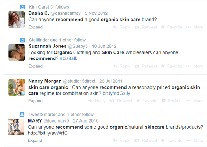 Organic skinscare brands who are able to generate leads from Twitter search