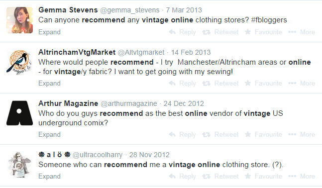 Vintage shops using Twitter search to generate leads