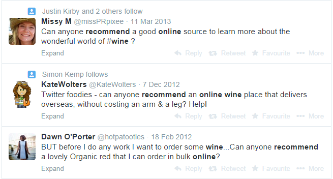 online wine using Twitter search to generate leads