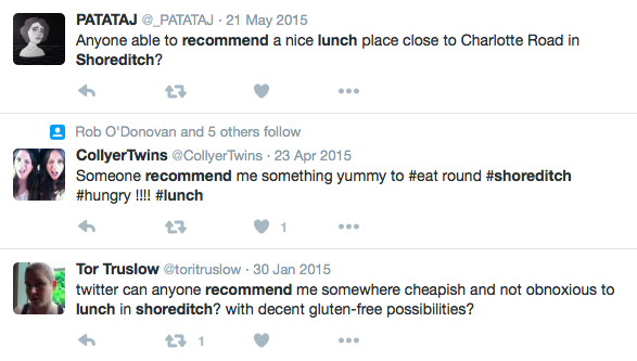 A look at some of the Twitter users asking for lunch recommendations