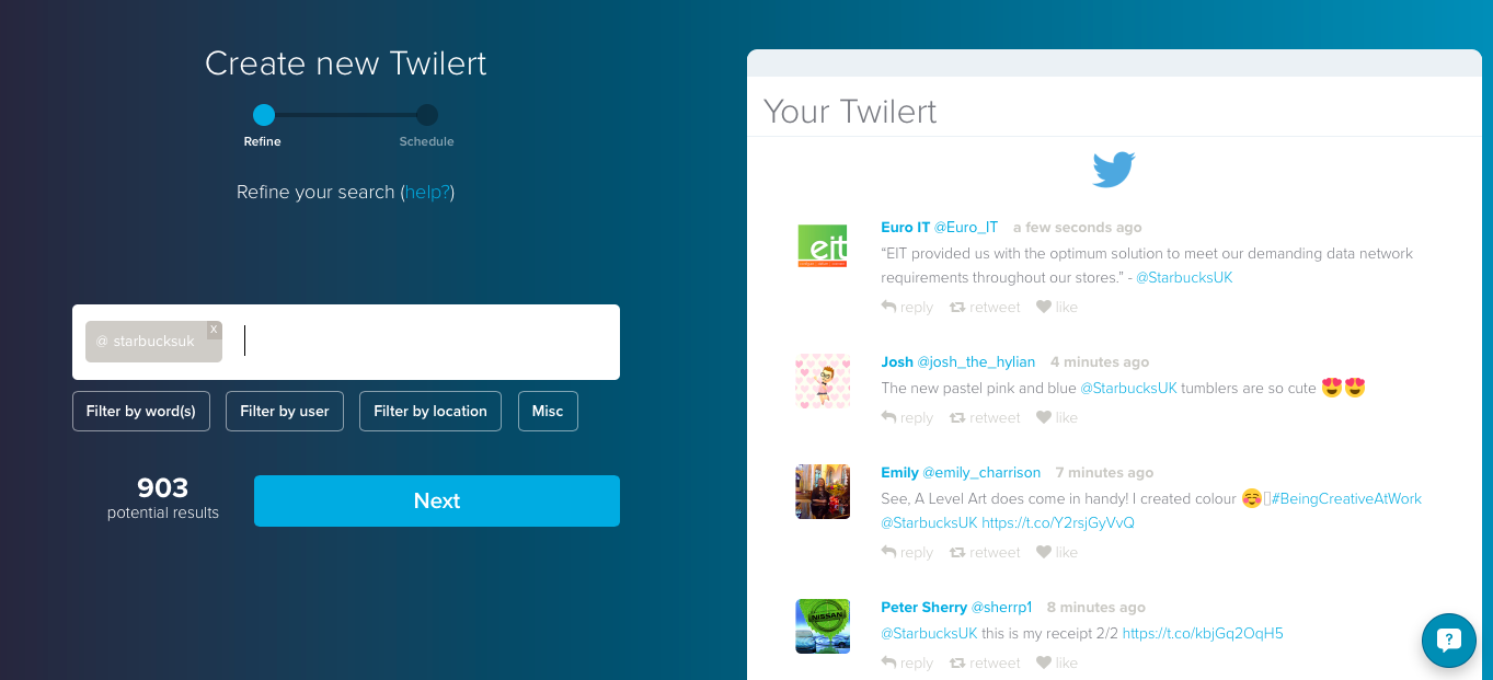 Twitter search alerts with Twilert