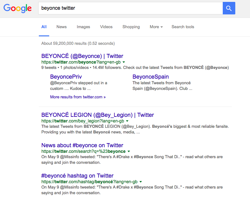Twitter search results on Google