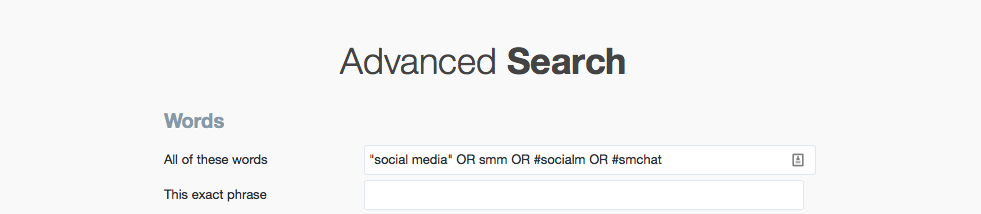 filtering results through twitter advanced search