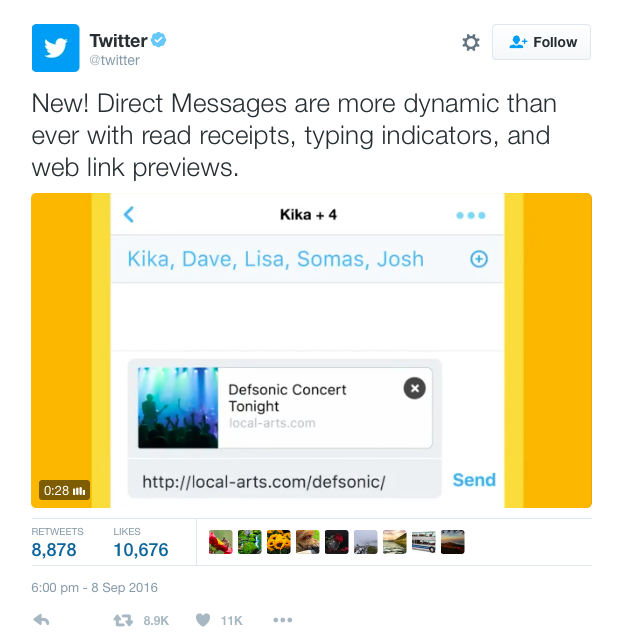 Twitter's direct messaging feature