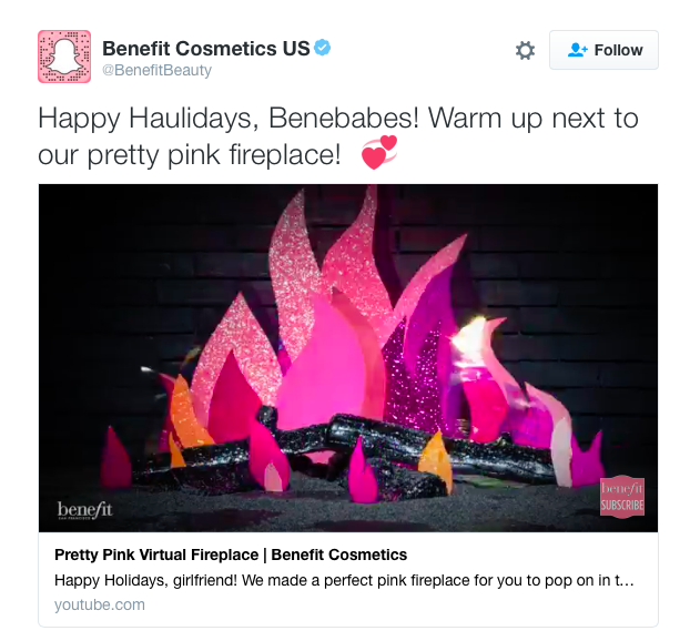 Benefit creative fireplace tweet