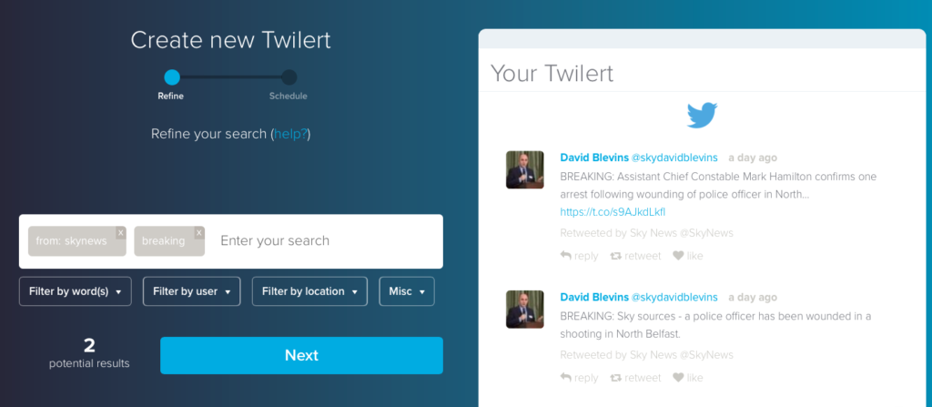 Creating complex Twitter searches in Twilert