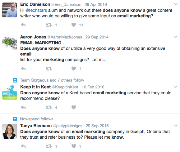 Marketing email twitter search