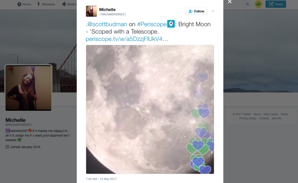 Shared link of a Twitter periscope