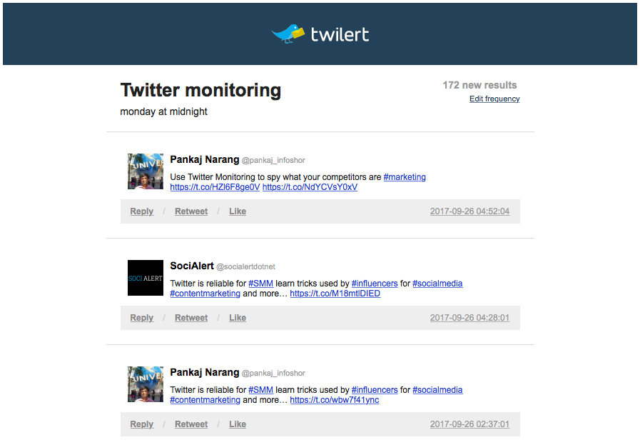 Twitter monitoring competitor terms