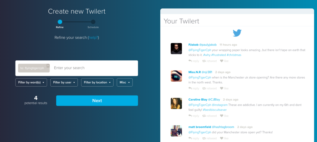 Twitter alert with Twilert