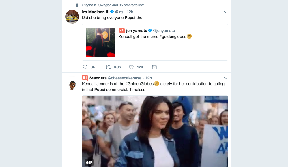 Brand mention on Twitter