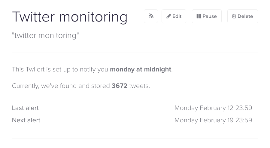 Twitter monitoring search