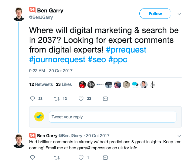 Journo request search on Twitter