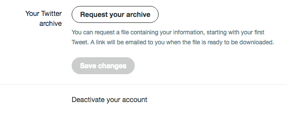 How to request Twitter archive