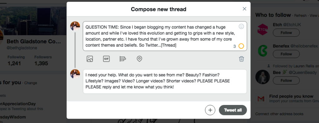 Compose a thread in Twitter
