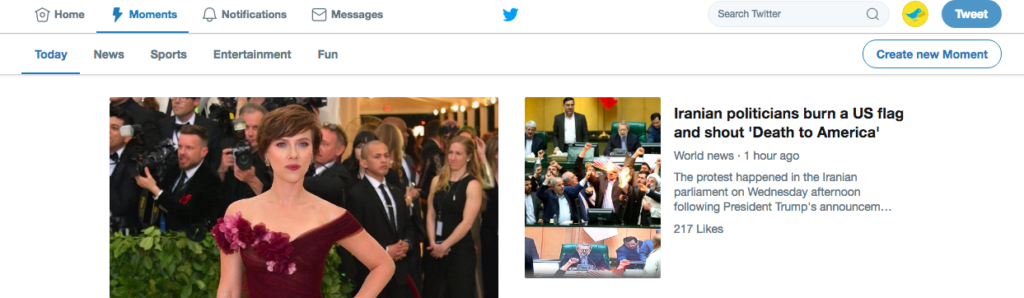 Twitter's moments tab