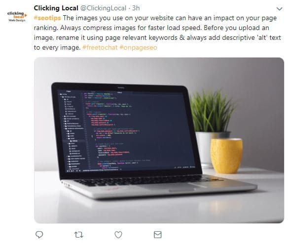 5 ways to use Twitter - An example of a tweet were helpful advice and information is given freely by SEO company @clickinglocal.