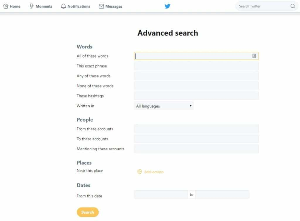 Twitter search by location